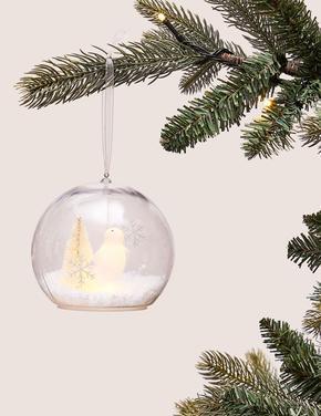 Beyaz Penguenli Işıklı Küre Çam Ağacı Süsü