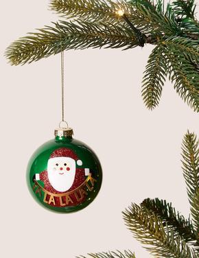 Yeşil Noel Baba Desenli Çam Ağacı Süsü