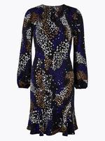 Kadın Multi Renk Desenli Yuvarlak Yaka Swing Elbise