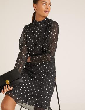 Kadın Siyah Desenli Mini Elbise