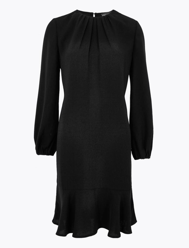 Kadın Siyah Yuvarlak Yaka Swing Elbise