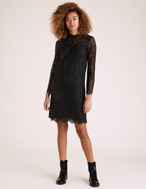 Kadın Siyah Dantelli Shift Elbise