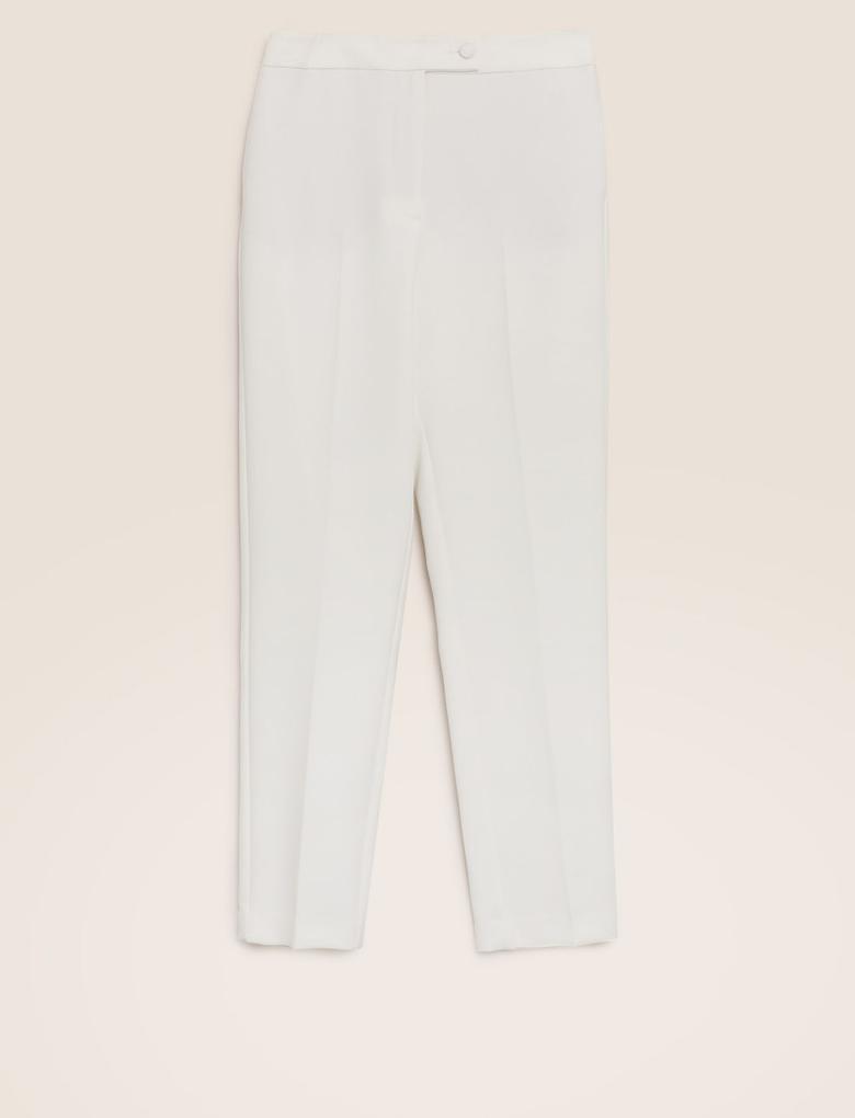 Kadın Beyaz Mia Slim Ankle Grazer Pantolon