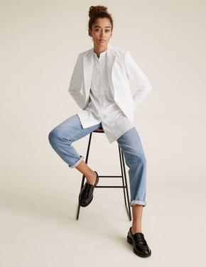 Kadın Beyaz Tailored Fit Blazer Ceket