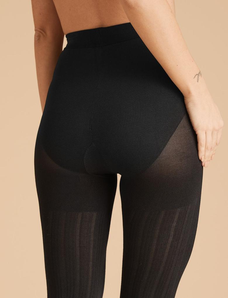 Kadın Siyah 180 Denye Fitilli Opak Külotlu Çorap