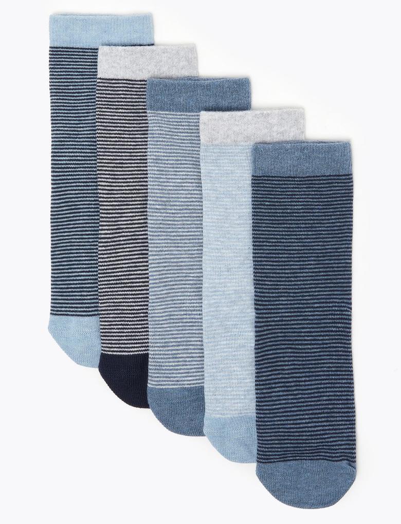 Çocuk Mavi 5'li Pamuklu Çorap Seti