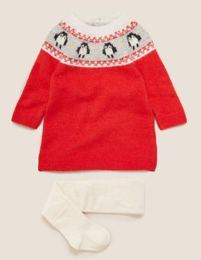 Bebek Kırmızı Penguen Desenli Elbise ve Külotlu Çorap Takımı