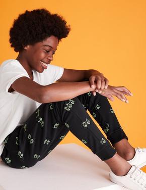 Erkek Çocuk Siyah Desenli Jogger Pantolon