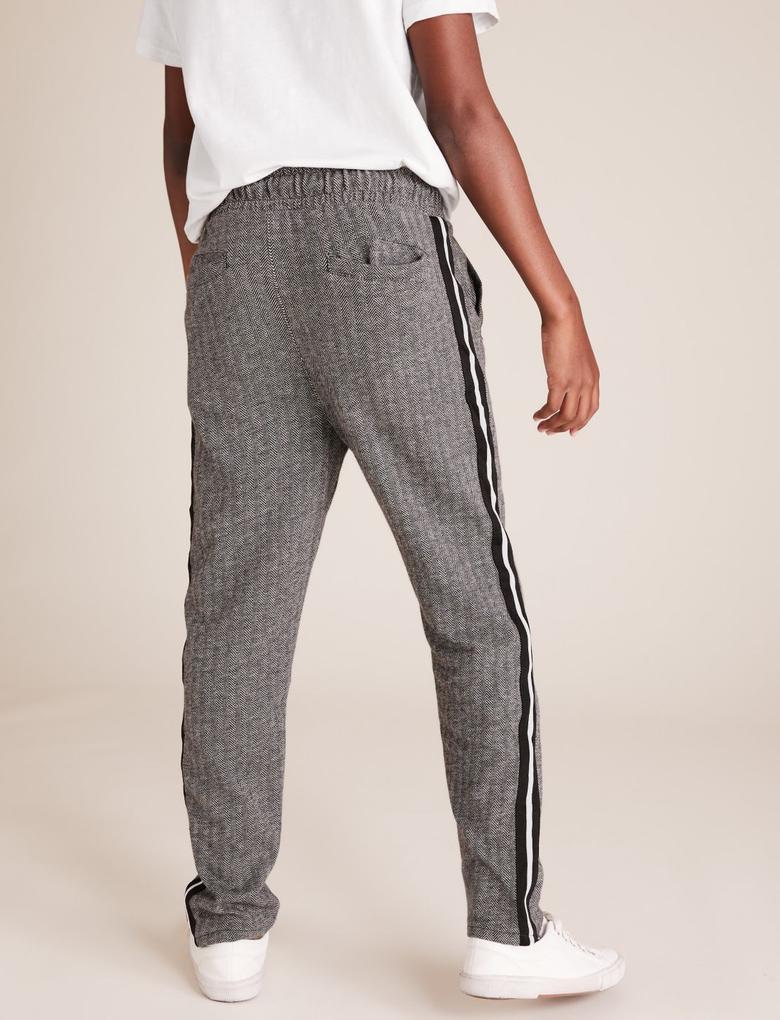 Erkek Çocuk Gri Şerit Detaylı Slim Fit Pantolon