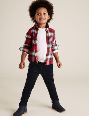 Erkek Çocuk Lacivert Regular Fit Kadife Pantolon