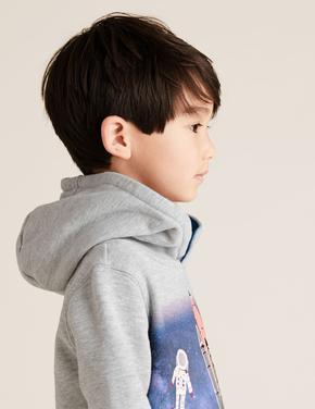Erkek Çocuk Gri Pamuklu Roket Baskılı Kapüşonlu Sweatshirt