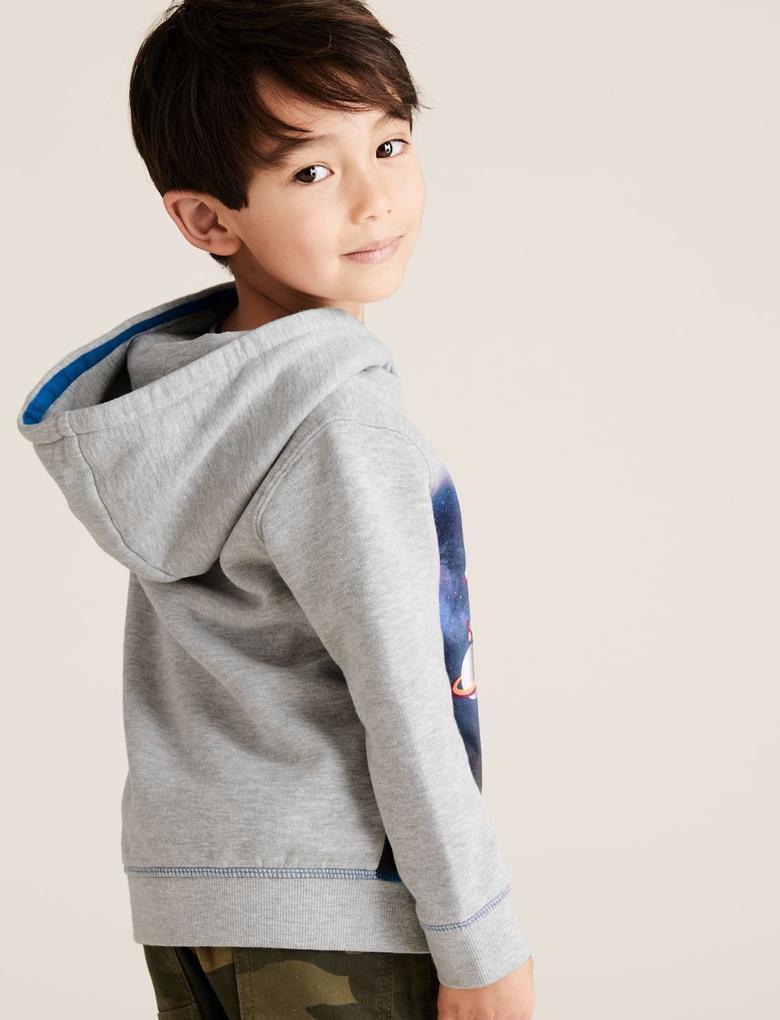 Erkek Çocuk Gri Roket Desenli Kapüşonlu Sweatshirt (2-7 Yaş)