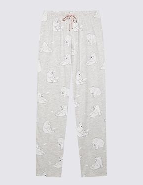 Kadın Pembe Pamuklu Kutup Ayısı Desenli Pijama Takımı