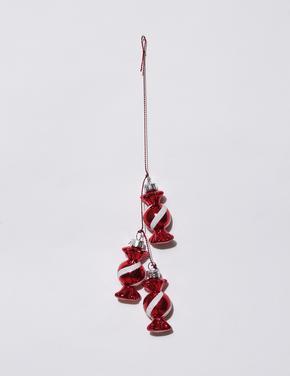 Kırmızı Şeker Motifli Çam Ağacı Süsü