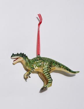 Yeşil Dinozor Motifli Çam Ağacı Süsü