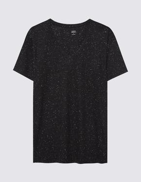 Kadın Gri Active V Yaka T-Shirt