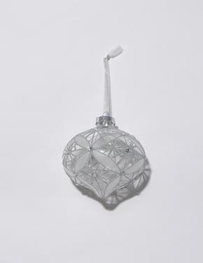 Gümüş Simli Dekoratif Çam Ağacı Süsü