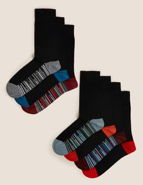 Erkek Siyah 7'li Cool & Fresh™ Çizgili Çorap Seti