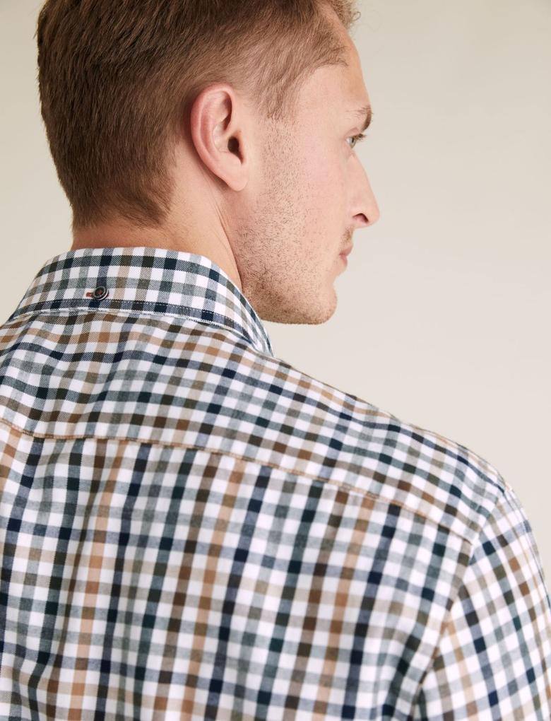 Erkek Beyaz Pamuklu Ekose Gömlek