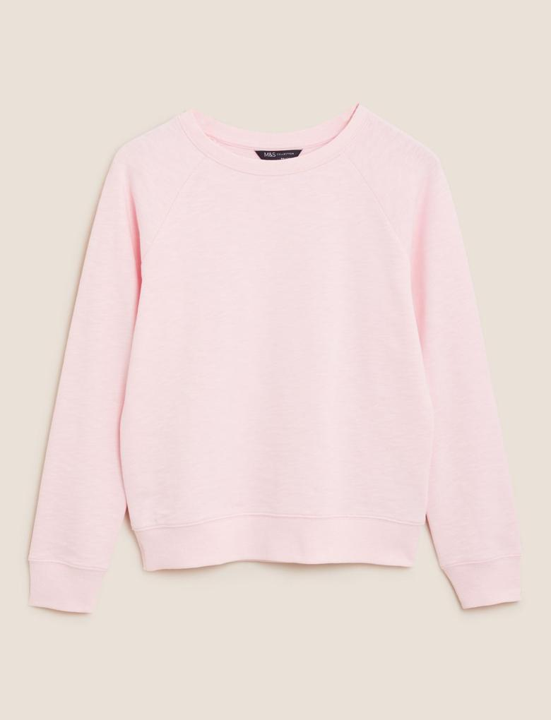 Kadın Pembe Saf Pamuklu Relaxed Sweatshirt