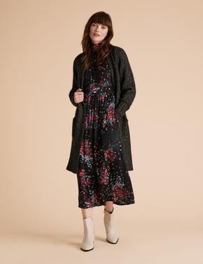 Siyah Çiçek Desenli Waisted Elbise