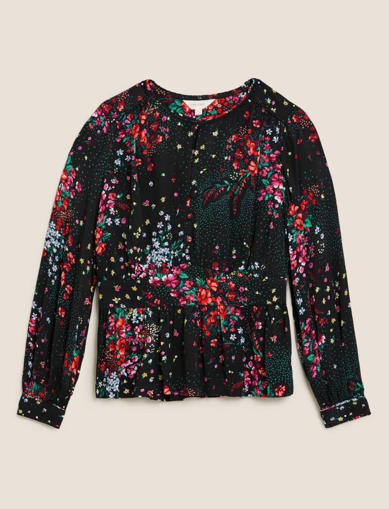 Siyah Çiçek Desenli Waisted Bluz