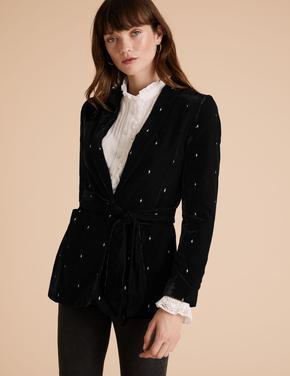 Siyah Kadife Relaxed Blazer Ceket