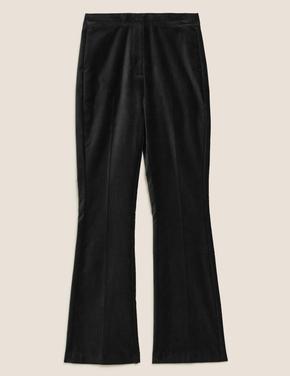 Kadın Siyah Kadife Slim Flare Pantolon