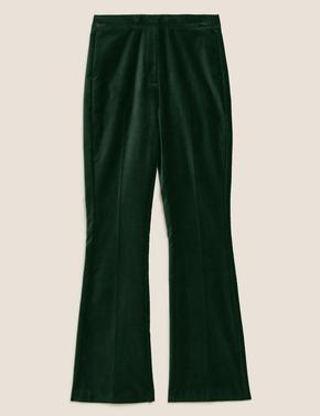 Kadın Yeşil Kadife Slim Flare Pantolon
