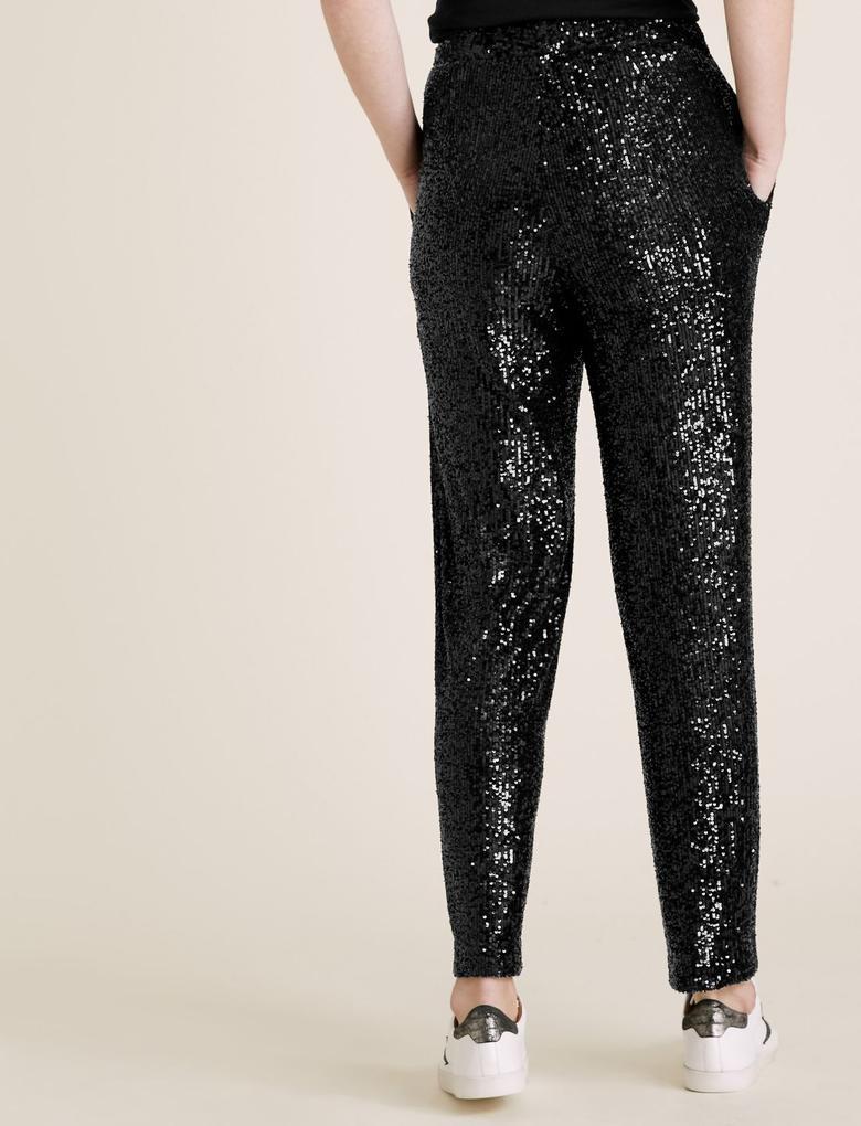Kadın Siyah Payetli Tapered Pantolon