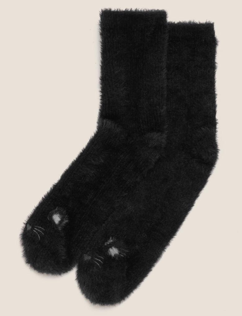 Kadın Siyah Peluş Çorap