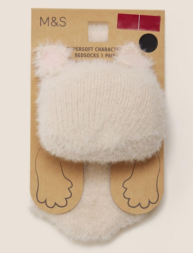 Kadın Bej Peluş Çorap