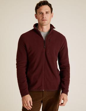 Bordo Fermuarlı Polar Sweatshirt