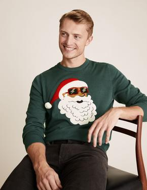 Erkek Yeşil Saf Pamuklu Noel Baba Desenli Kazak
