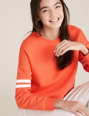 Kız Çocuk Kırmızı Organik Pamuklu Sweatshirt