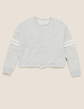 Kız Çocuk Gri Organik Pamuklu Sweatshirt