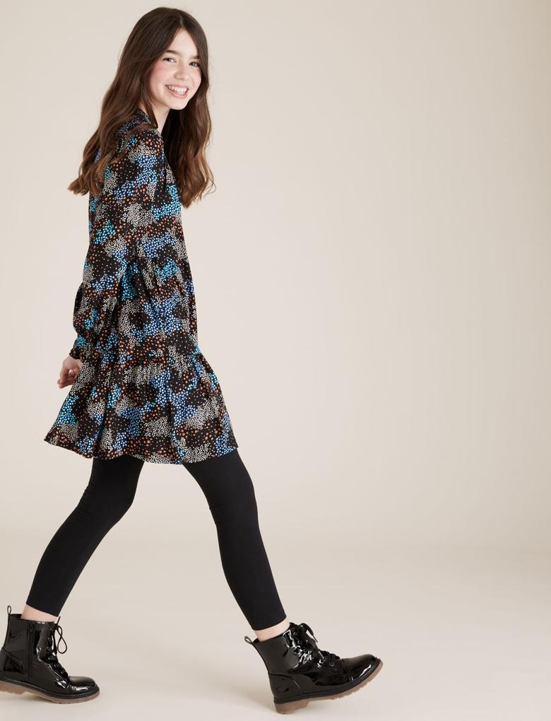 Kız Çocuk Siyah Çiçek Desenli Elbise