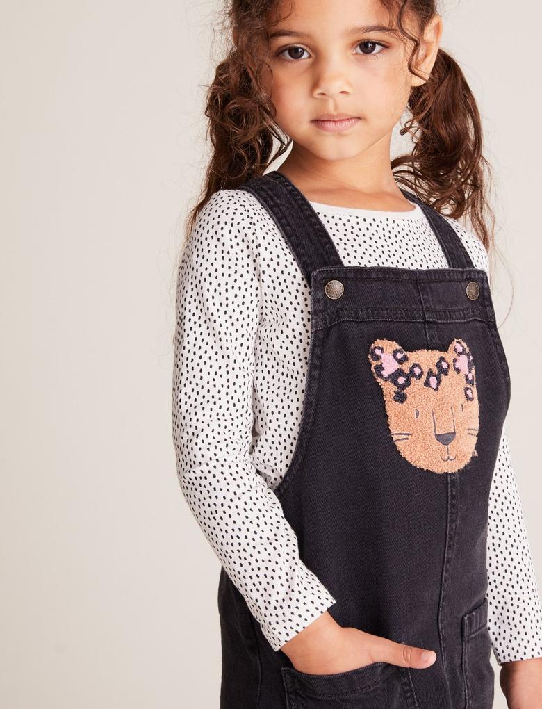 Kız Çocuk Siyah 2'li Salopet ve Bluz Takımı