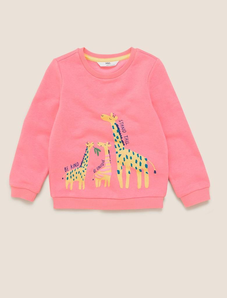 Kız Çocuk Pembe Pamuklu Zürafa Desenli Sweatshirt