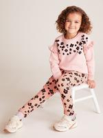 Kız Çocuk Pembe Leopar Desenli Jogger Pantolon