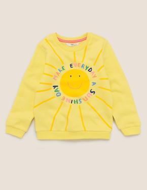 Kız Çocuk Sarı Pamuklu Güneş Desenli Sweatshirt