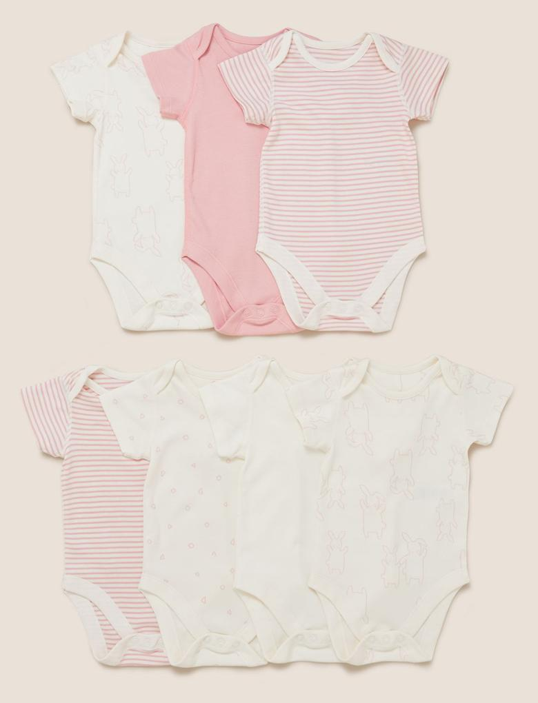 Bebek Pembe 7'li Organik Pamuklu Body Seti