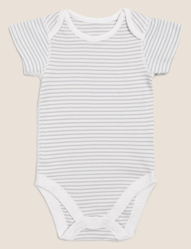 Bebek Gri 7'li Saf Pamuklu Body