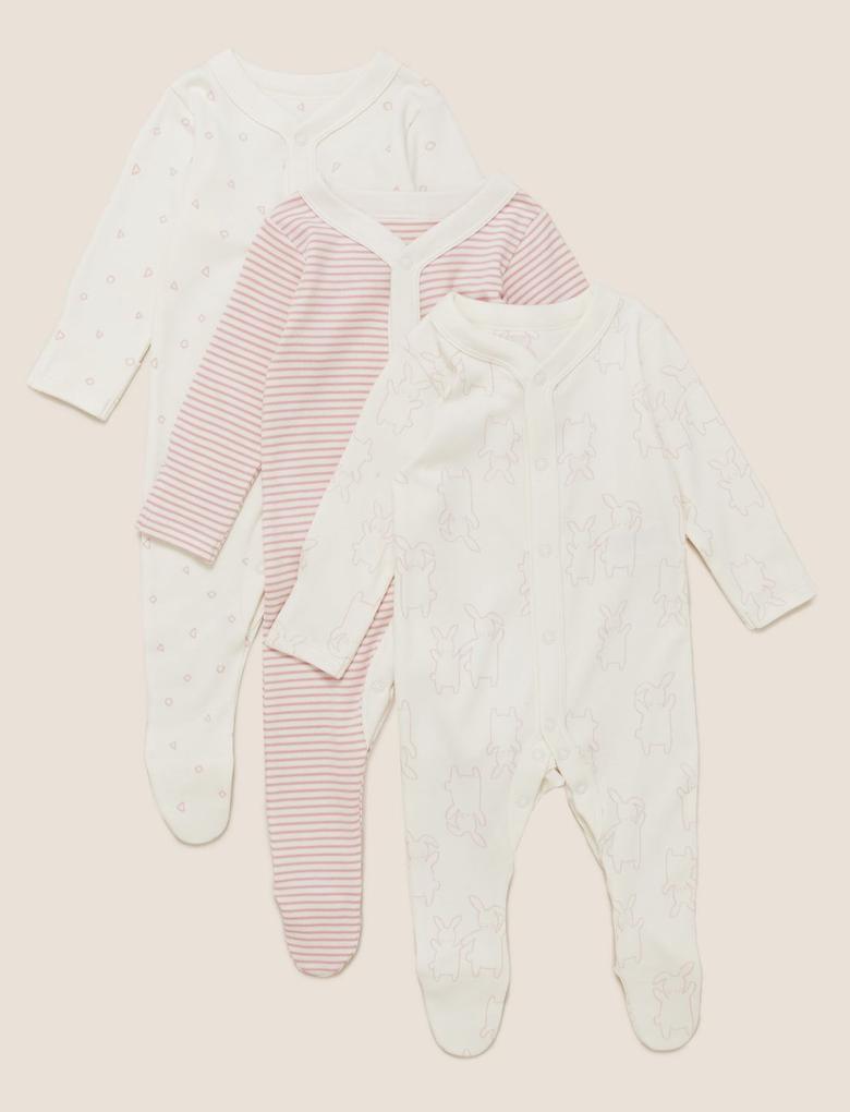 Bebek Pembe 3'lü Organik Pamuklu Tulum Seti