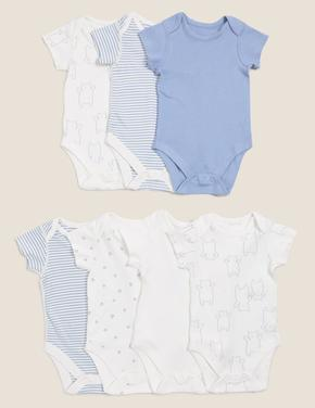 Bebek Mavi 7'li Organik Pamuklu Body Seti