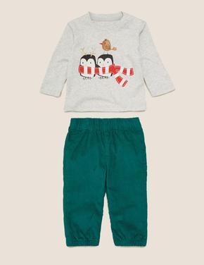 Bebek Yeşil 2'li T-Shirt ve Pantolon Takımı