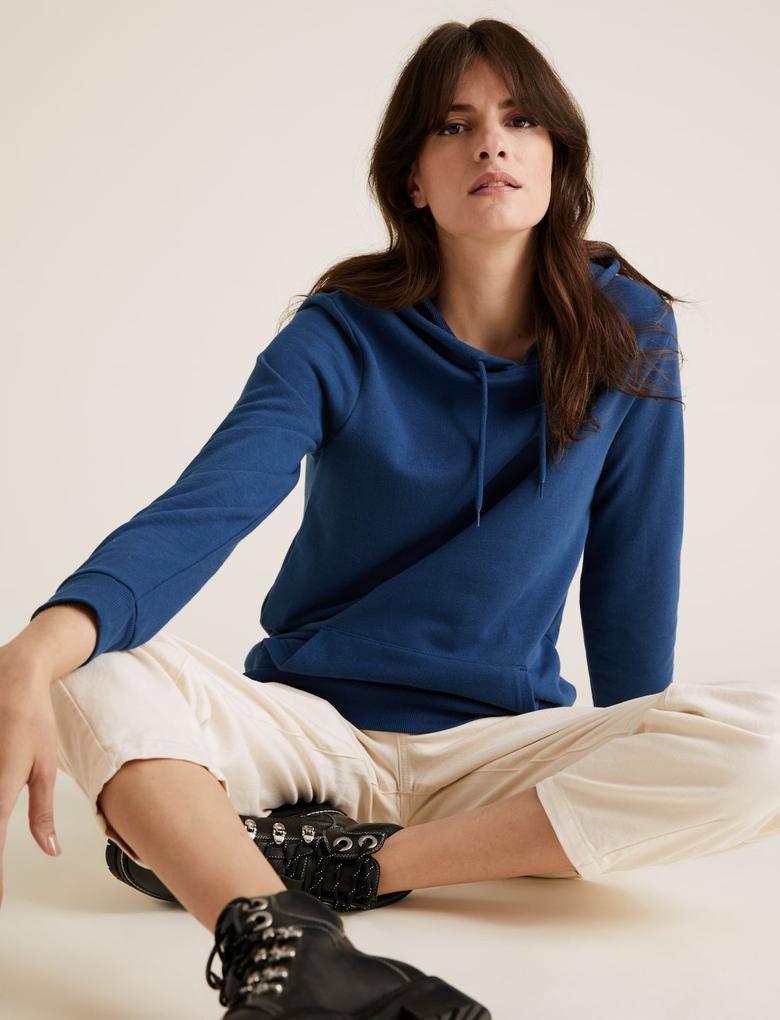 Kadın Lacivert Kapüşonlu Sweatshirt