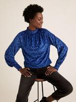 Kadın Mavi Puantiyeli Dik Yakalı Relaxed Bluz