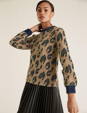 Kadın Lacivert Desenli Jakarlı Bluz