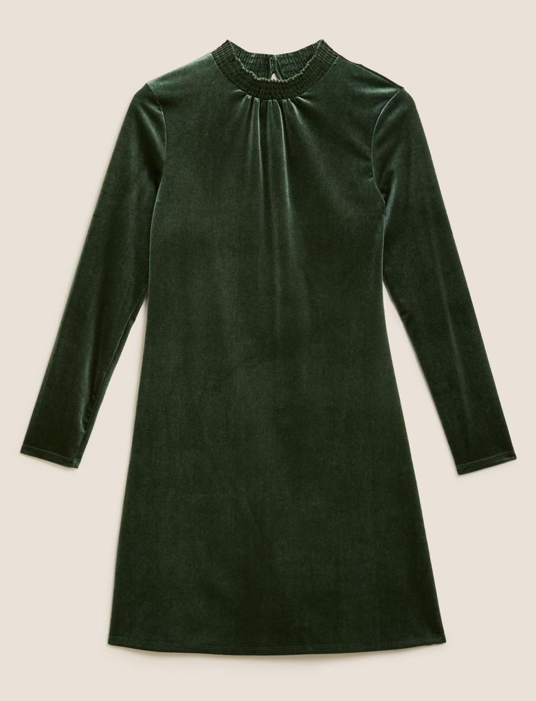 Kadın Yeşil Kadife Uzun Kollu Swing Elbise